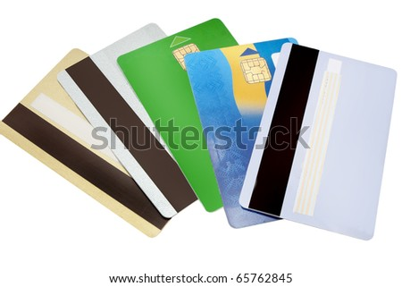 five credit cards isolated on a white background - stock photo