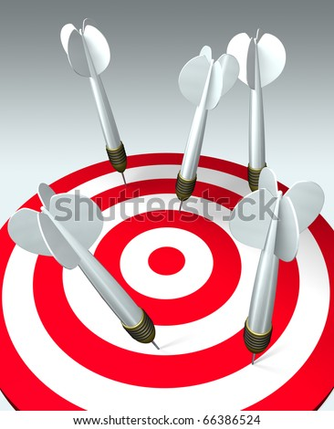 Five darts hit the target, but none hits the mark. Failure business concept. 3D image.