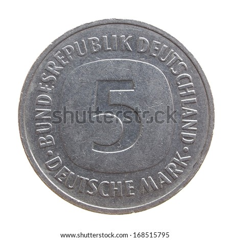 Five Deutsche Mark coin isolated over a white background