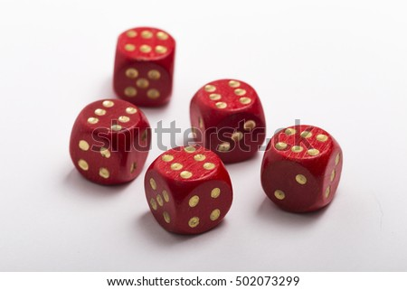 Five dice, all sixes isolated on a white background