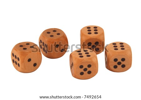 Five dice showing a full house of sixes and fours.