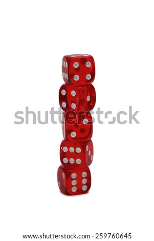 Five dices isolated on white - stock photo