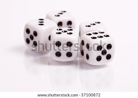 Five dices on glass - isolated - stock photo