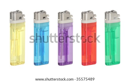 Five different colored lighters isolated on white