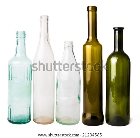 five different empty bottles in row - stock photo