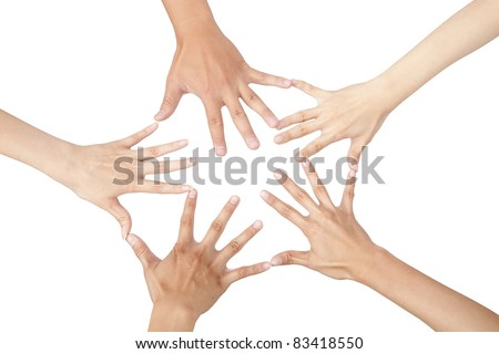 five different hands connected together and isolated on white - stock photo