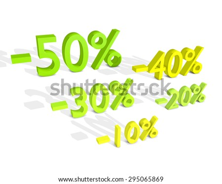 Five different percentage sale for shopping - stock photo