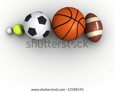 Five different sports on white background - 3d render