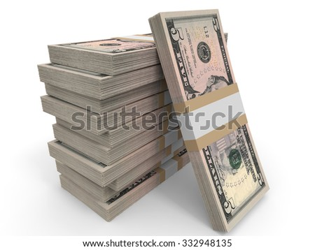 Five dollar banknotes background. 3D illustration. - stock photo