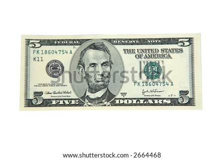 Five dollar bill isolated on white