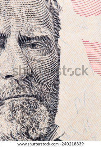 five dollars. close-up - stock photo