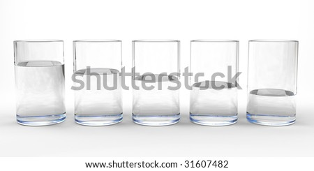 Five drinking glasses with different level of water in each - stock photo