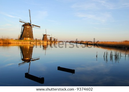 "Five  dutch windmills in ""Kinderdijk"", a famous village in the Netherlands where you can visit the  old traditional windmills."