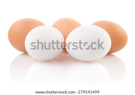 Five eggs on white background with clipping path