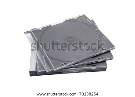 Five empty boxes for CD or DVD disks. On a white background - stock photo