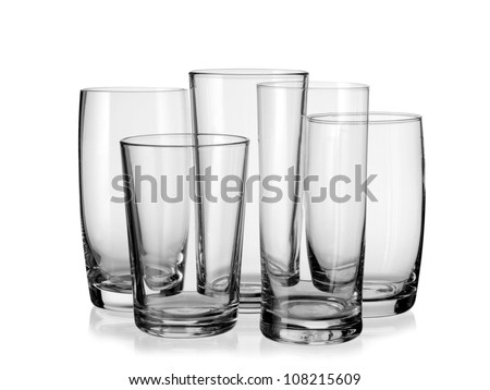 Five empty water glasses