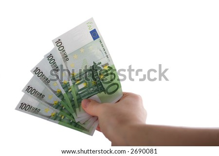 Five 100-Euro-Banknotes in first-person-view on outstretched arm. Isolated on white.lt.