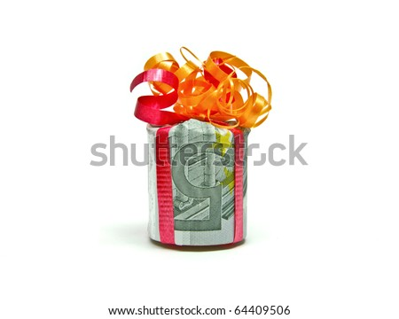 Five euro bill packed as a gift - stock photo