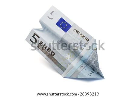 five euro paper currency folded to paper plane, isolated on white - stock photo