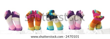 Five feet in stockings - stock photo
