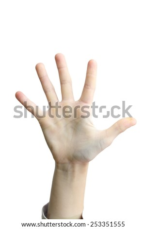 five finger on a gray background