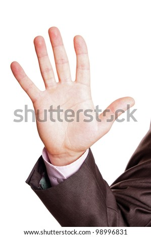 five finger sign - stock photo