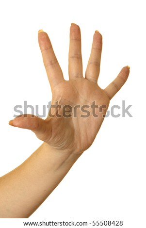 five fingers being held in the air by a females hand. Isolated on white. - stock photo