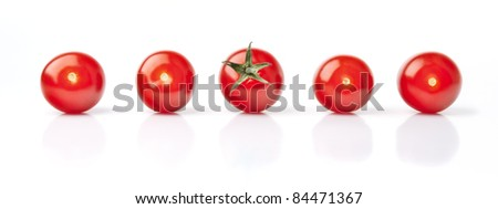 Five Fresh Red Cherry Tomatoes - stock photo