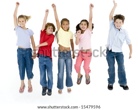 Five friends jumping and smiling - stock photo