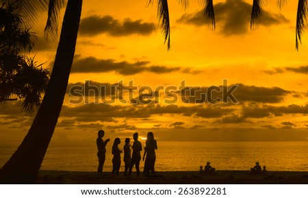 Five friends lesbian girl standing on tropical island enjoying glass wine vine or champagne at sunset sky with dramatic clouds sun rays on background Party team group with alcohol drink Under palm  - stock photo