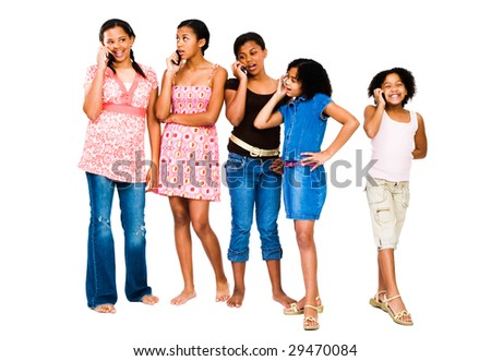Five friends talking on mobile phones isolated over white