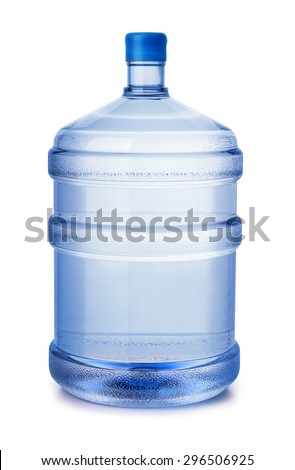 Five gallon plastic water bottle isolated on white - stock photo