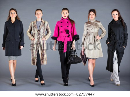 Five girls in different clothes, autumn winter collection clothes