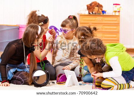 Five glamorous girls with jewelry on - stock photo