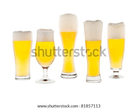 Five glasses with beer isolated