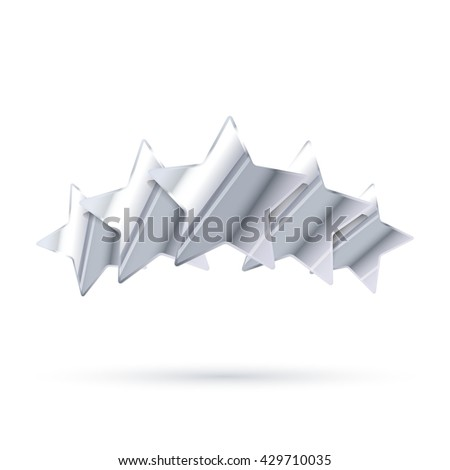 Five glossy silver rating stars with shadow isolated on white - stock photo