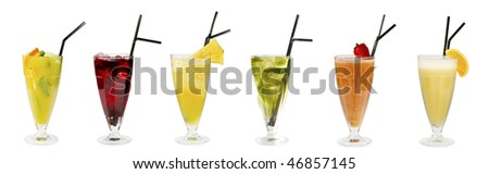 five goblets with nonalcohlic cocktail