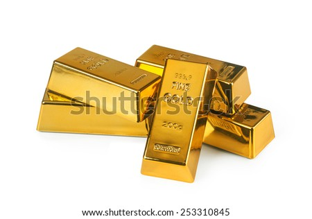 Five gold bars isolated on white background - stock photo
