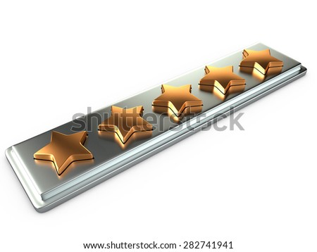 Five gold stars for ranking, 3D rendering image - stock photo