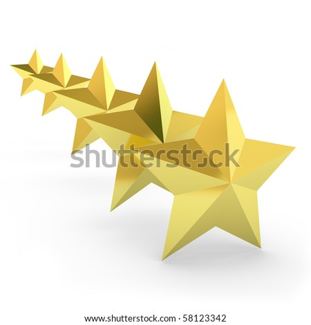 Five gold stars on the white - stock photo