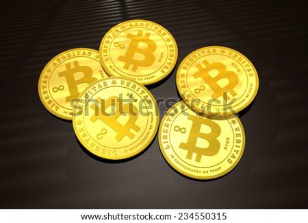 Five golden Bitcoins on a dark background - stock photo