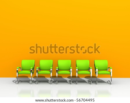 five green chairs against orange wall