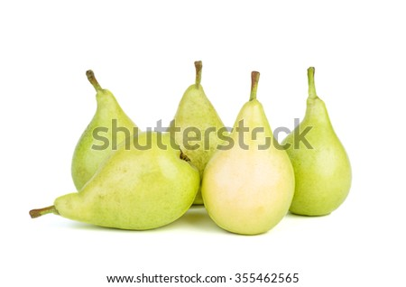 Five green pears isolated on white background