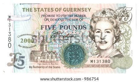 five Guernsey Pounds - stock photo