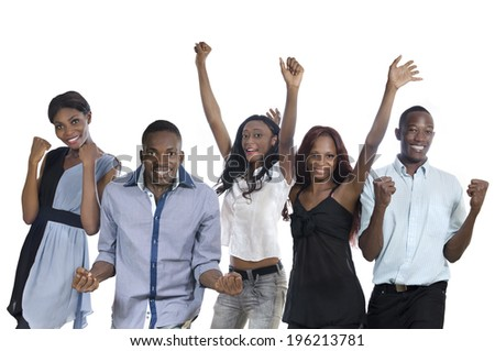 Five happy african people cheering, Studio Shot, Isolated - stock photo