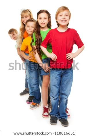 Five happy boys and girls standing together with smile isolated on white - stock photo