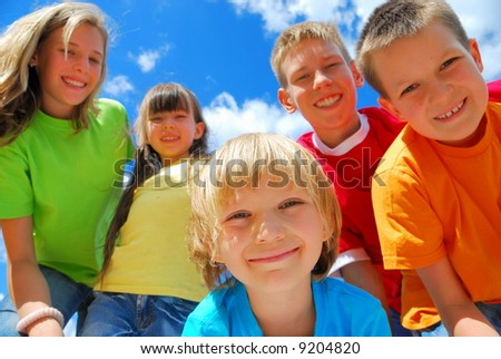 Five Happy Kids - stock photo