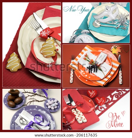 Five holiday dining table place settings collage of five colorful images for Christmas, New Year, Easter, Valentines Day and Halloween - stock photo