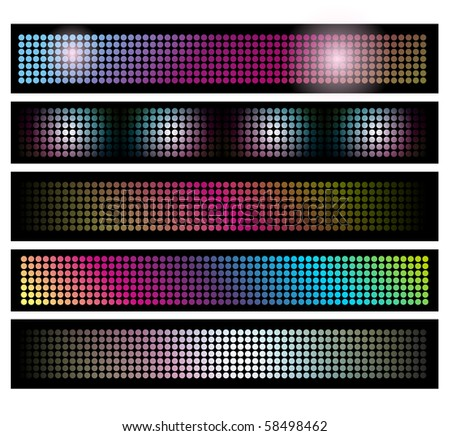 Five horizontal black bars filled with multicolored dots following a sequential ligthing pattern. - stock photo