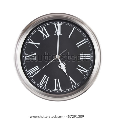 Five hours on a round clock face - stock photo